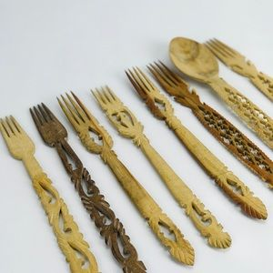 Hand Carved Wooden Spoon and Forks